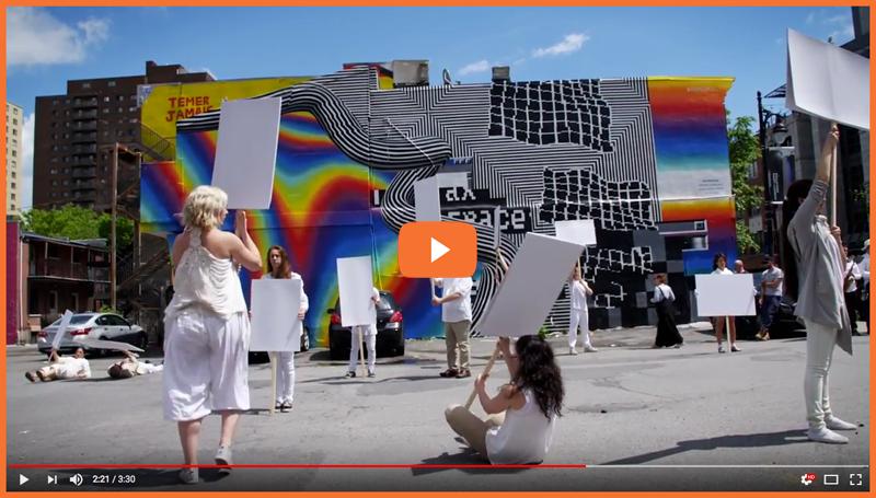 Vidéo Blank placard dance, replay à Montréal